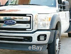 100W Hybrid-Beam LED Pods withFoglight Location Bracket/Wiring For 11-16 F250 F350