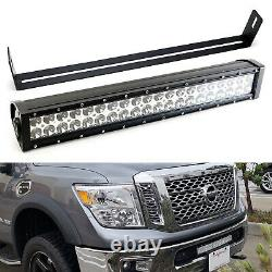 120W 20 LED Light Bar withLower Bumper Mount Bracket/Wiring For 17+ Nissan Titan
