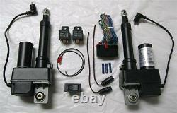 (2) TWO Heavy Duty 2 Inch Linear Actuator & Wring Switch Kit 225lb 12 Volt DC