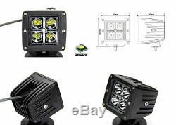 40W CREE LED Pods with A-Pillar Brackets Wiring For 09-up Dodge RAM 1500 2500 3500
