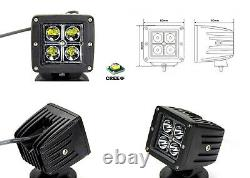 40W LED Pods with Rear Bumper Foot Step Bracket Wiring For 15-up Silverado Sierra