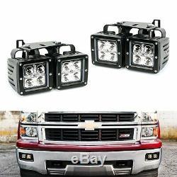 80W LED Pods with Foglight Location Bracket/Wirings for 14-15 Chevy Silverado 1500