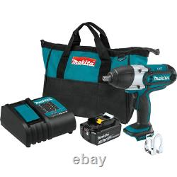 Makita Impact Wrench Kit 1/2 in. Sq. Drive 18-Volt Lithium-Ion Cordless 3.0Ah