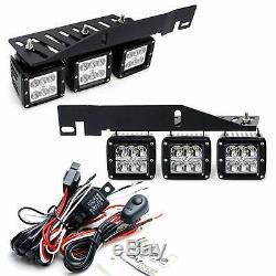 Mega Triple-Light 144W LED Fog Lights withMount Bracket/Wiring For 17+ Ford Raptor