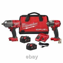 Milwaukee 2988-22 M18 Fuel Gen2 3/8 Mid Torque & 1/2 High Torque Impact Kit