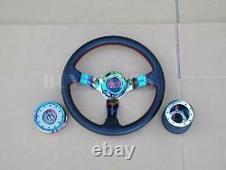 Neo Chrome 330mm Steering Wheel Hub Quick Release Kit For Honda Civic 1988-1991