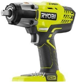 RYOBI Impact Wrench Kit 18-Volt 1/2 in. LED Light Brushed Motor Cordless 3-Speed