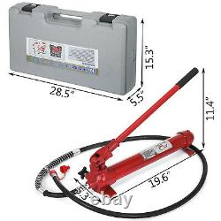 10ton Porta Power Hydraulique Jack Body Frame Repair Kit 2m Allonger Le Lift De Tuyau Ram