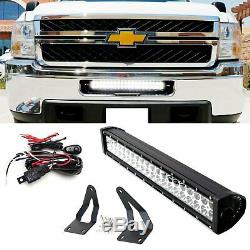 120w 20 Led Light Bar Withmounting Support / Câblage Pour 11-14 Silverado 2500 / 3500hd
