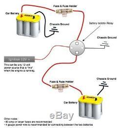 300 Amp Forte Charge De Batterie Auxiliaire Dual Isolator 2 Awg Cuivre Kit Avec Anl Fusibles