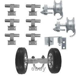 6 Chain Link Wall Munted Rolling Gate Hardware Kit Très Lourd Galvanisé