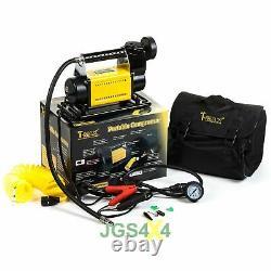 Compresseur T-max 12v Heavy Duty Pompe Pneumatique Portable 4x4 + Kit De Réparation De Pneus
