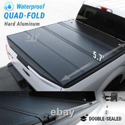 Couvercle De Tonneau Dur De Quad Pli Pour 09-18 Ram 1500 Aluminium Imperméable À L'eau De Lit De 5.7ft