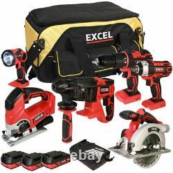 Kit D'outils De 6 Pièces Sans Fil Excel 18v 3 X 2.0ah Batteries Et Chargeur Intelligent Exl5069