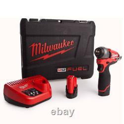 Milwaukee M12biw14-202c 12v Compact 1/4in Kit De Clé D'impact 2 X 2.0ah Batteries