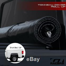 Pour 2014-2018 Chevy Silverado Crew Cab 5.8 Ft Bed Lock & Rouleau Couvre-bagages Souple