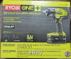 Ryobi P261k Cordless Impact Wrench 3 Speed 1/2 18v Kit Avec Batterie & Chargeur Nouveau